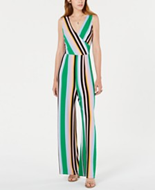 Bar III Striped Surplice-Neck Jumpsuit, Created for Macy's