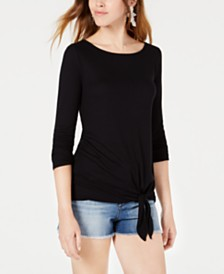 Bar III Tie-Hem Top, Created for Macy's