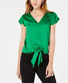 Flutter-Sleeve Tie-Front Blouse, Created for Macy's