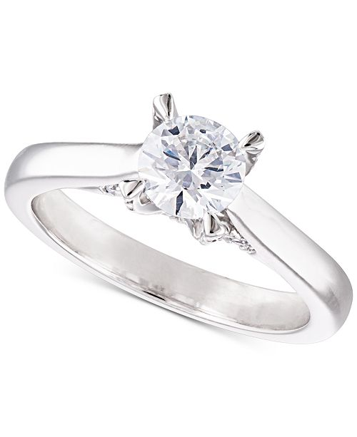 Macy's Certified Diamond Solitaire Engagement Ring (1 ct. t.w.) in 14k White or Yellow Gold