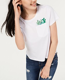 Rebellious One Juniors' Cotton Cactus Pocket T-Shirt