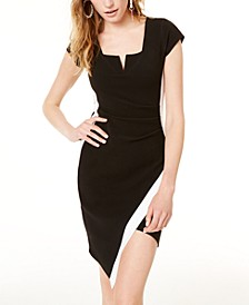 Juniors' Asymmetrical Cutout Bodycon Dress