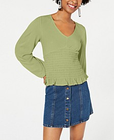 Juniors' Striped Smocked Blouse