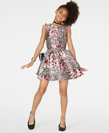 Sequin Hearts Big Girls 2-Pc. Mixed-Print Dress