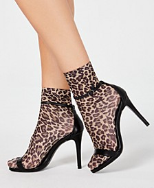 INC Opaque Animal-Print Anklet Fashion Socks, Created for Macy's