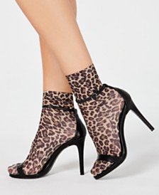 I.N.C. Opaque Animal-Print Anklet Fashion Socks, Created for Macy's