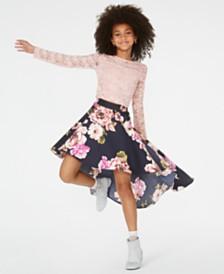 Speechless Big Girls Lace Top & High-Low Skirt Set