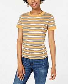 Juniors' Ribbed-Knit Ringer Top