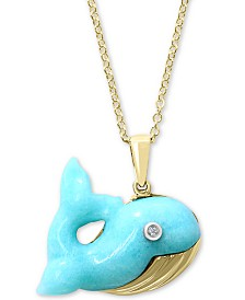 "EFFY® Amazonite & Diamond Accent Whale 18"" Pendant Necklace in 14k Gold & White Gold"