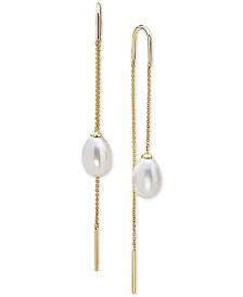 EFFY® Cultured Freshwater Pearl (10 x 7mm) Threader Earrings in 14k Gold