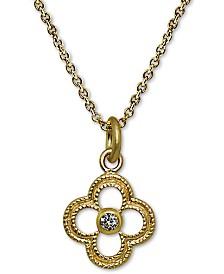 "Giani Bernini 18k Gold-Plate Cubic Zirconia Quatrefoil 18"" Pendant Necklace, Created for Macy's"