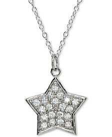 """Giani Bernini Sterling Silver Cubic Zirconia Star 18"""" Pendant Necklace, Created for Macy's"""