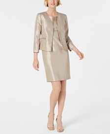 Kasper Beaded Open-Front Jacket & Dress