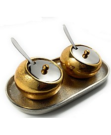 Decorative Mini Golden Condiments with Spoons