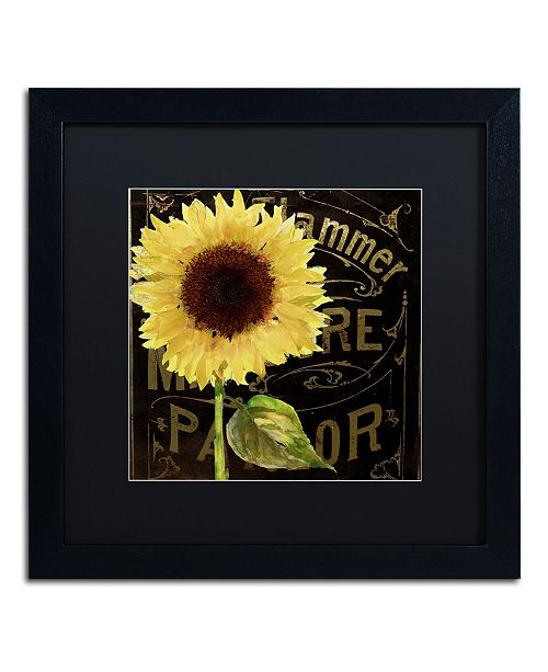 "Trademark Global Color Bakery 'Sunflower Salon I' Matted Framed Art - 16"" x 16"""