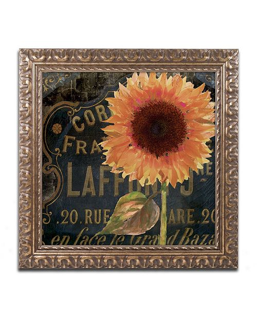 """Trademark Global Color Bakery 'Sunflower Salon II' Ornate Framed Art - 16"""" x 16"""""""