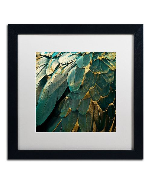 "Trademark Global Color Bakery 'Feather Glitter' Matted Framed Art - 16"" x 16"""