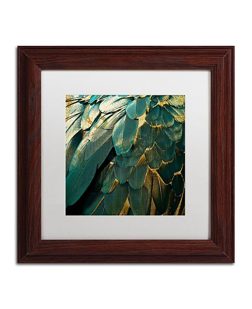 "Trademark Global Color Bakery 'Feather Glitter' Matted Framed Art - 11"" x 11"""