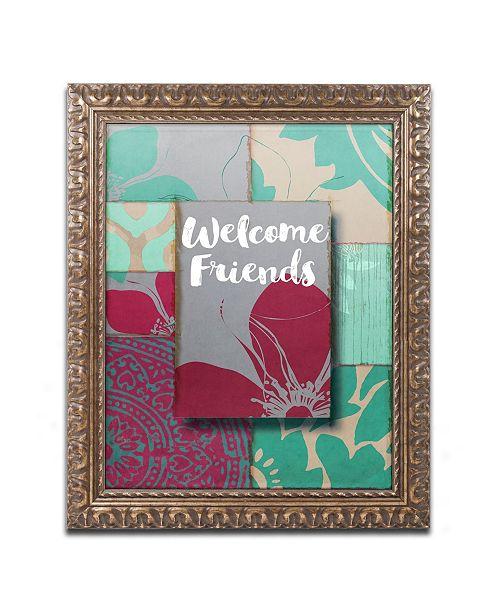"""Trademark Global Color Bakery 'Elegant Welcome Flag' Ornate Framed Art - 11"""" x 14"""""""