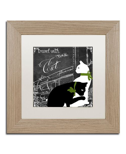 "Trademark Global Color Bakery 'Travel With Your Cat' Matted Framed Art - 11"" x 11"""
