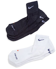 Nike Men's Socks, 3 Pack Dri Fit Quarter Men's Socks