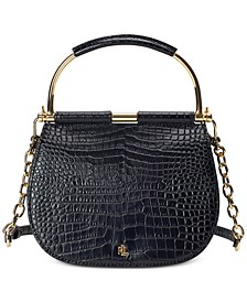 로렌 랄프로렌 Lauren Ralph Lauren Mason Croc-Embossed Leather Satchel