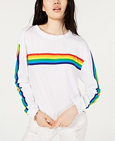 Juniors' Cotton Rainbow-Stripe T-Shirt
