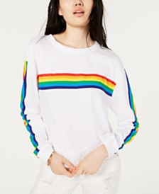 Rebellious One Juniors' Cotton Rainbow-Stripe T-Shirt