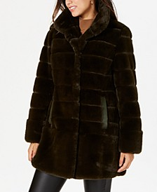 Stand-Collar Faux-Fur Coat