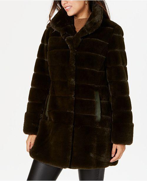 Jones New York Petite Faux-Leather-Pocket Faux-Fur Coat