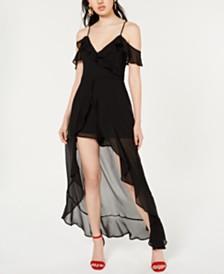 Material Girl Juniors' Ruffled High-Low Romper Dress, Created for Macy's