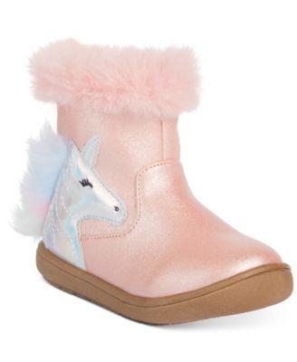 Toddler Girls Pink Unicorn Booties