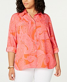 Plus Size Paisley-Print Shirt, Created for Macy's