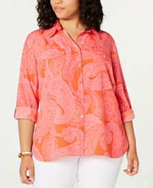 Tommy Hilfiger Plus Size Paisley-Print Shirt, Created for Macy's