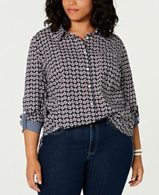 Plus Size Cotton Daisy-Print Roll-Tab Shirt, Created for Macy's