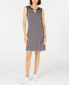Tommy Hilfiger Printed Sleeveless Dress, Created for Macy's