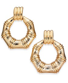 Gold-Tone Bamboo-Inspired Doorknocker Earrings, Created for Macy's
