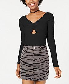 Material Girl Juniors' Cutout Rib-Knit Bodysuit, Created for Macy's