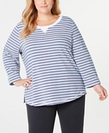 Karen Scott Plus Size Zoe Striped Sweatshirt, Created for Macy's