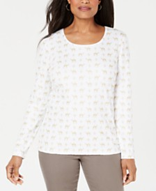 Karen Scott Petite Camel-Print Top, Created for Macy's