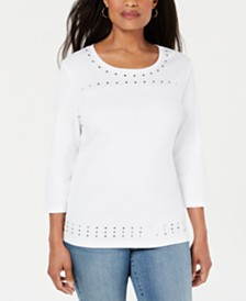 Karen Scott Scoop-Neck Studded Top, Created for Macy's