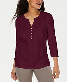 Eyelet-Front Henley Top, Created for Macy's