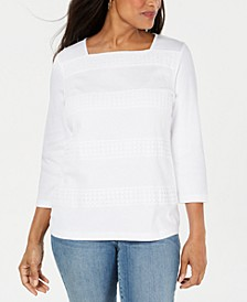 Petite Lace Square-Neck 3/4-Sleeve Top