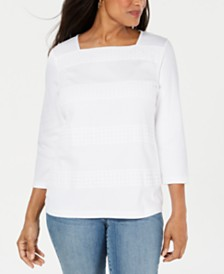 Karen Scott Square-Neck Lace-Stripe Top, Created for Macy's