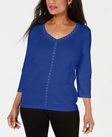Karen Scott V-Neck Studded Top, Created for Macy's