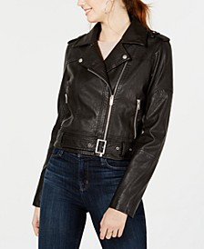 Juniors' Faux-Leather Belted Moto Jacket