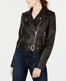 Collection B Juniors' Faux-Leather Belted Moto Jacket