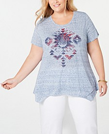 Plus Size Graphic Handkerchief-Hem T-Shirt, Created for Macy's