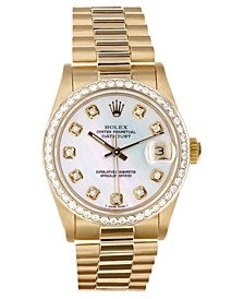 Ladies Midsize 18K Presidential with Mother of Pearl  Dial and Diamond Bezel