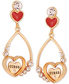 GUESS Crystal Heart Drop Earrings
